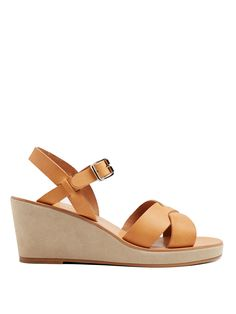 Click here to buy A.P.C. Classic leather and suede wedges at MATCHESFASHION.COM