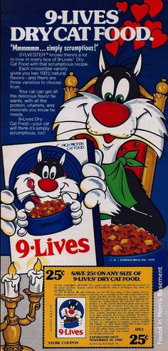 This 1979 ad for 9-Lives cat food features Tweety Bird's favorite cat, Sylvester.