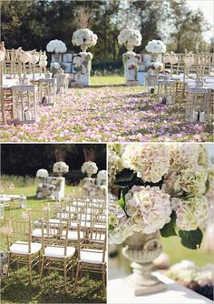 Outdoor wedding, baskets filled with petals on the ends of the chairs to throw at the bride and groom as they walk down the isle :)