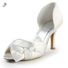 Elegantpark EP2046 White Women s Peep Toe Stiletto High Heel Bow Pump Satin  Bride Wedding Shoes US 92649674921c