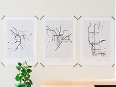 The New York, London, & Paris Underground prints, inspired by the historical subway systems of each city is a modern and stylish print. Popular areas and the city's geographical coordination have been marked out. The print is carefully packaged and shipped in a cardboard tube. Frame not included.