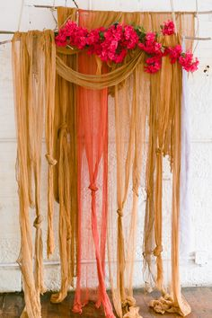We mixed and matched dye color formulas in earthy caramel tones for a warm cozy fall vibe with foraged branches and bold florals. Wedding Altars, Diy Wedding, Wedding Bouquet, Boho Backdrop, Ribbon Backdrop, Ceremony Backdrop, Diy Girlande, Low Budget Wedding, Rit Dye