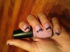 February - black actual lace on top of small black design on pink