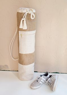 Natural Jute & Linen Yoga Mat Bag - Minimalist Oversized Yoga Bag - Sailor Bag  Simple and clean yoga bag made from natural cotton canvas, linen,…