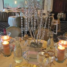 Centerpiece. Crystal wedding tree centerpieces I made for my daughter baptism.  I used 18-24inch branches instead of actual trees.