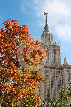 A pictorial view of red tree leaves in autumn garden of Moscow State University.