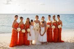 Orange Lace Bridesmaids