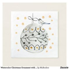 Shop Watercolor Christmas Ornament with bird Napkins created by McBooboo. Christmas Time, Christmas Crafts, Christmas Ornaments, Christmas Paper Napkins, Wedding Napkins, Wedding Table, Wedding Invitations, Cocktail Party Themes, Watercolor Christmas Cards