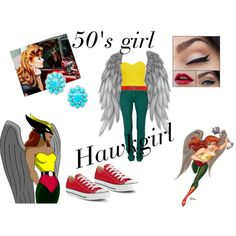 Hawkgirl pin up by candra-gwen-marsh on Polyvore featuring Second, Converse and Mangano
