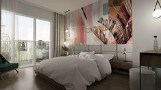 Sypialnia z balkonem, materiałowy zagłówek do łóża, pastelowe kolory, złota lampa Projekt Agnieszki Grabowskiej dla Grupy Moderator Divider, Bed, Room, Furniture, Home Decor, Balcony, Bedroom, Decoration Home, Stream Bed