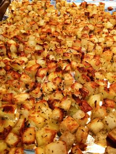 Ingredients: 2 lbs potatoes (see note below), diced1 tbsp extra virgin olive oil1/2 tsp rosemary, crushed1/2 tsp thyme, ground1/4 tsp salt1/4 tsp garlic powder1/8 tsp pepper*I prefer this recipe wi...