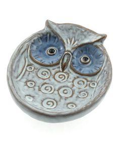 Look at this #zulilyfind! White & Blue Eyes Owl Large Plate #zulilyfinds