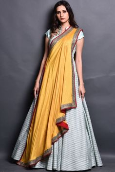 Light Green Raw Silk Resham Embroidered Indowestern Gown-GW752