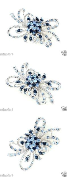 Pins and Brooches 50677: W Swarovski Crystal Blue Ribbon Flower Charm Brooch Pin And Pendant BUY IT NOW ONLY: $42.0