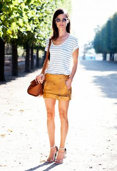 leather mini skirt + casual stripe shirt