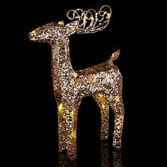 John Lewis Indoor Battery Operated Pre-lit LED Glitter Standing Deer, Gold Online at johnlewis.com