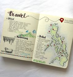 Made a travel journal of places i've been in the Philippines. Hope to make addit. Made a travel journal of places i've been in the Philippines. Hope to make additions to places tr Bullet Journal Travel, Bullet Journal Ideas Pages, Journal Pages, Travel Journals, Journal Prompts, Bullet Journals, Smash Book Inspiration, Journal Inspiration, Bujo