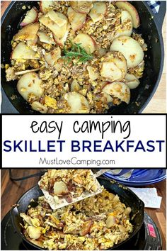 How to make a delicious and hearty camping skillet breakfast with eggs, potatoes and sausage. A quick and easy one skillet meal to feed a hungry family. Easy Campfire Meals, Campfire Recipes, Campfire Food, Grilling Recipes, Cooking Recipes, Easy Camping Breakfast, Breakfast Skillet, Breakfast Recipes, Camping Menu