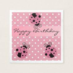 Pink Ladybug and Polka Dots Happy Birthday Napkins
