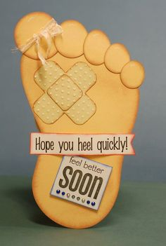 Cute Greeting Cards: punch art foot - get well card - bjl
