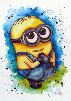Dave the Minion watercolour painting by www.fiona-clarke.com