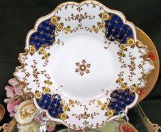 1835 ANTIQUE H & R DANIEL COBALT BLUE PLATTER PLATE GOLD GILT PAINTED PATTERN