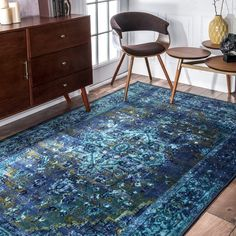 nuLOOM Traditional Vintage Inspired Overdyed Fancy Blue Area Rug (4'4 x 6') | Overstock.com Shopping - The Best Deals on 3x5 - 4x6 Rugs