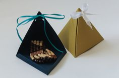 Triangle Pyramid Gift Boxes set of 3 Custom Handmade by yeiou