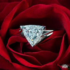 Diamond and white gold trillion-cut engagement ring (Verragio)