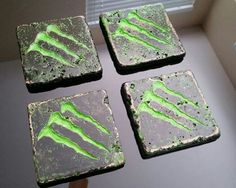 Monster energy bar/table drink coasters.