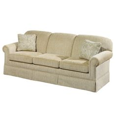 Made in the USA, this charming sofa showcases a kiln dried poplar wood frame and tan upholstery.    Product: SofaConstru...