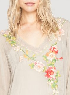 Detail: Johnny Was Porschia Blouse Embroidery #floral #roses #embroidered #design