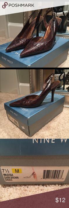 Nine West Dark Brown Crocodile Heels Super comfortable heels! Nine West Shoes Heels