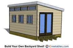 10x16 modern shed plans with door on end.