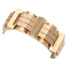 1940s Retro Geometric Gold Bracelet | From a unique collection of vintage retro bracelets at https://www.1stdibs.com/jewelry/bracelets/retro-bracelets/