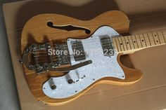 . Free Shipping F Telecaster Semi Hollow Body F Hole Jazz Electric Guitar Natural Wood Bigsby Big Rocker Chrome Hardware #Affiliate
