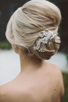 elegant wedding updo hairstyle with pearl headpiece