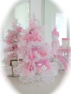 Pink and white shabby Christmas tree i made :)