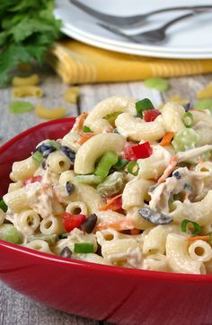 This chicken macaroni salad is one of those comfort foods that's impossible not to love! | YummyAddiction.com