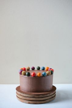chocolate graham cake with chocolate cream cheese frosting and marzipan balls
