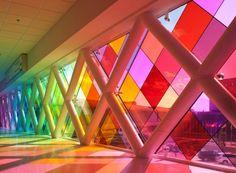 Rainbow Airport Walkway at the Miami International Airport ~  Stunning!