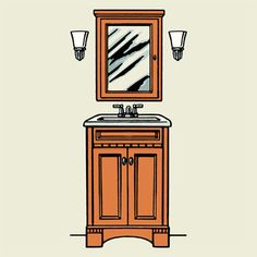 To light a vanity right, flank the mirror with fixtures placed at eye level (around 66 inches), ideally spaced 36 to 40 inches apart. | Illustration: Eric Larsen | thisoldhouse.com