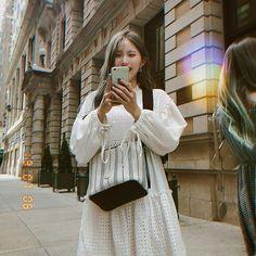 "fromis_9 [프로미스나인] on Instagram: ""뉴욕에서도 행복한 하냥 귀엽넹 #포바꼬 #나경 #하영"" Tulle, White Dress, Songs, Skirts, Dresses, Fanart, Korea, Kpop, Fashion"