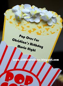 """Popcorn Party Invitation Tutorial - Use """"Pop Over idea for Staff flier the week before?"""