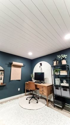 Do you have heavily textured or popcorn ceilings and you don't want the hassle of removing it? Learn how to install shiplap on your ceiling! In this easy tutorial, we take you step-by-step through the process using premade, primed, shiplap planks to create a beautiful, bright, finished look to any room. Covering Popcorn Ceiling, Removing Popcorn Ceiling, Wood Plank Ceiling, Shiplap Ceiling, Faux Shiplap, White Shiplap, White Ceiling Paint, Painting Shiplap, Installing Shiplap
