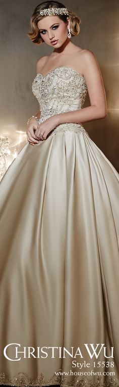 A sweet sophisticate's dream gown by Christina Wu. Grace and glamour exude from this timeless ball gown design. #wedding