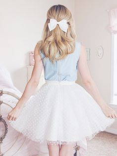 Spring Wardrobe Ready With These New Feminine Pieces polka dot skirt white black dots hair bow hair bow hairstyles blue blouse spring outfit spring style Kawaii Fashion, Cute Fashion, Look Fashion, Spring Fashion, Girl Fashion, Fashion Outfits, Fashion Design, Ladies Fashion, Womens Fashion