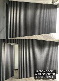 HIDDEN DOOR WITH FLUTED PANEL | Gallery Hidden Doors In Walls, Hidden Rooms, Wood Slat Wall, Wood Paneling, Panelling, Interior Walls, Home Interior Design, Wall Cladding Interior, Deco Spa