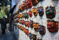 """"""" Mahakala is almost always depicted with a crown of five skulls, which represent the transmutation of the five kleshas (negative afflictions) into the five wisdoms. Ladakh India, Leh Ladakh, Almost Always, Handmade Wooden, Deities, Photo And Video, Artwork, Himalayan, Tibet"""