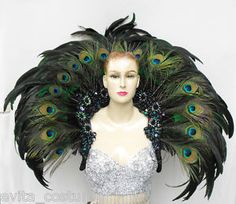 wow, this cape is so heavy they call it a backpack! (cabaret dancer peacock feather accoutrement)